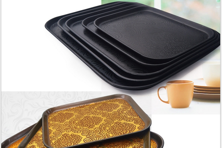 European Non-slip Black Plastic Rectangular Thickened Plate