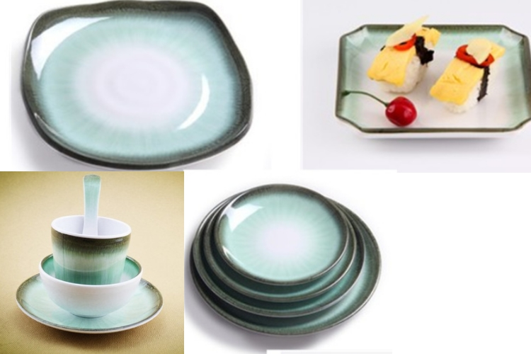 A5 Melamine Bowl Cup Plate Spoon Set Green Jade Series Tablewares (Sold Separately)