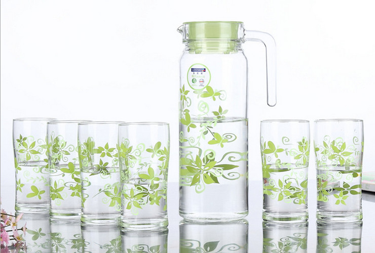 France Luminarc Greenery Glass Glass Glasses Cold Water Pot 7 Sets Drinkware Set