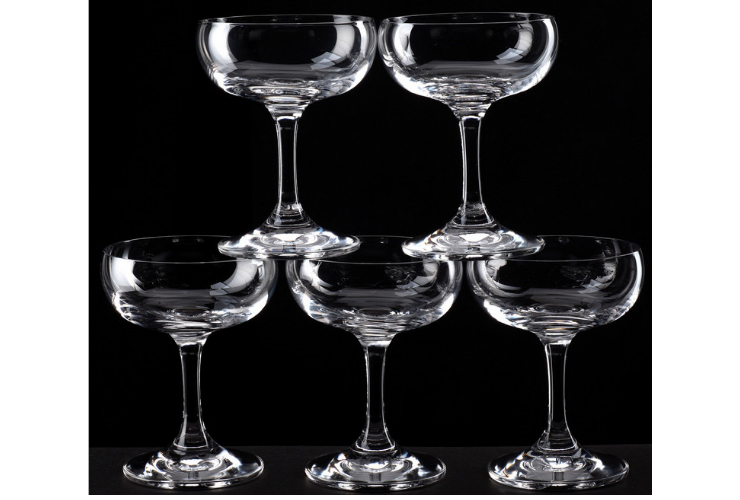 SD Crystal Glass High-leg Plate-shaped Champagne Glasses Cocktail Glasses