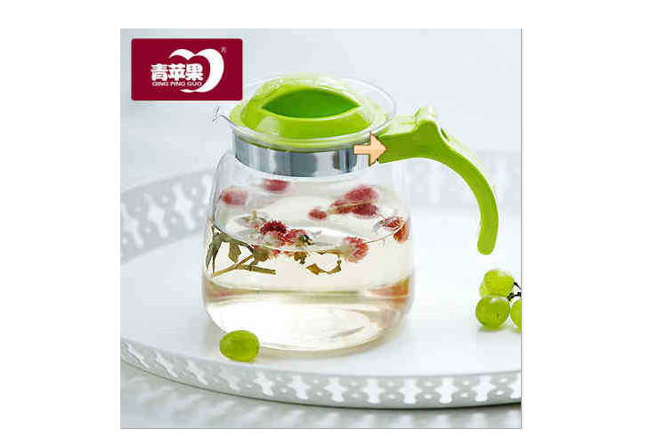 Green Apple Brand Green Glass Hot Cold Water Kettle