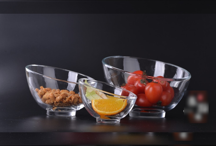 Glass Tilted-mouth European-style Food Salad Bowl Snack Food Fruit Bowl