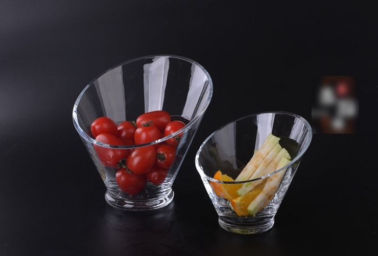 Glass Tilted-mouth Hotpot Food Salad Bowl Characteristic Snack Food Fruit Bowl