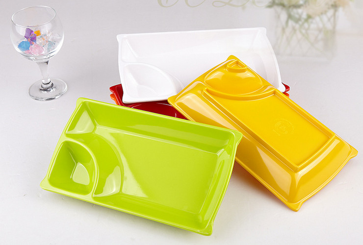 High-class A5 Melamine Ceramic-like Colorful Two-cell Plate French Fries Small Food Plate
