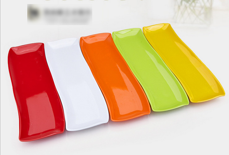 High-class A5 Melamine Ceramic-like Colorful Long Sushi Plate Hotpot Raw Meat Plate Small Food Plate