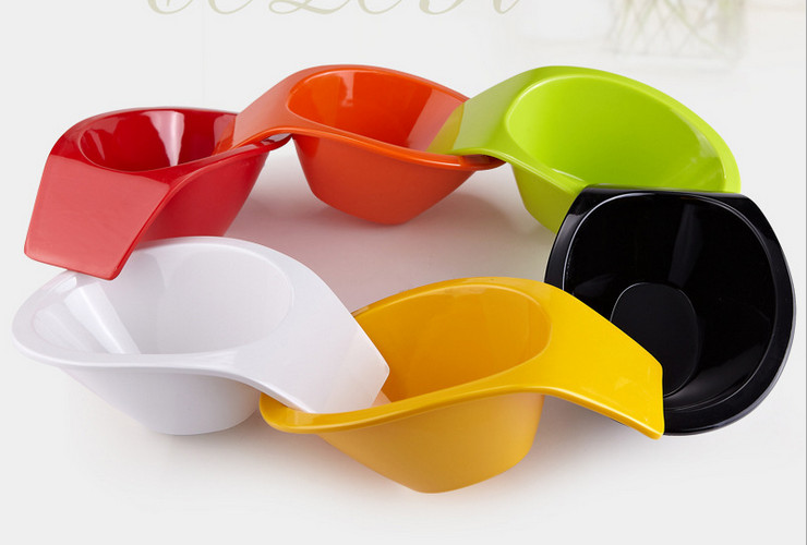 High-class A5 Melamine Ceramic-like Colorful Handled Bowl Hotpot Seasoning Creative Fruit Salad Vegatable Bowl