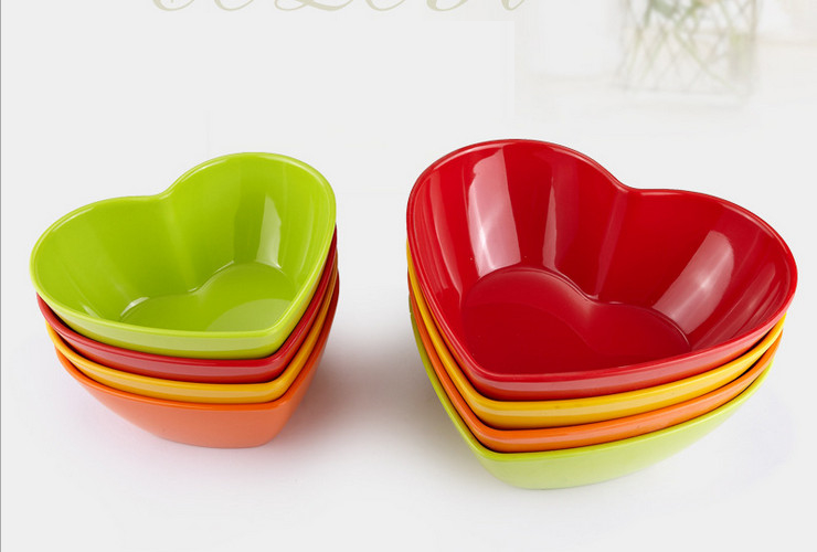 High-class A5 Melamine Ceramic-like Colorful Heart-shaped Fruit Salad Vegetable Bowl
