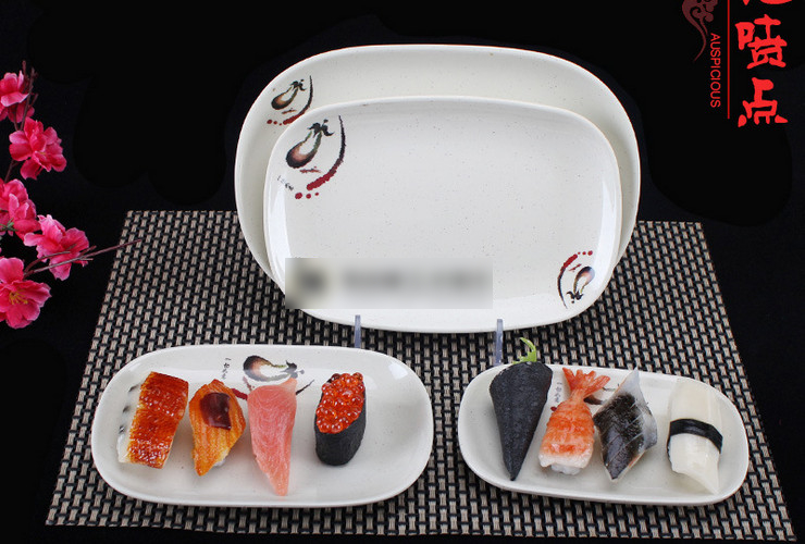 A5 Melamine Ceramic-like Tableware Eggplant-pattern Dot Rectangular Plate Japan-Korea-Style Rice Roll Plate Shallow Plate