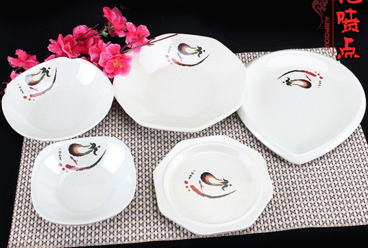 A5 Melamine Ceramic-like Tableware Eggplant-pattern Dot Cold Food Plate Small Food Plate Hotpot Fast-food Square Plate Triangular Plate