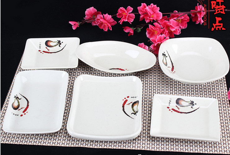 A5 Melamine Ceramic-like Tableware Eggplant-pattern Dot Cold Food Plate Small Food Plate Hotpot Fast-food Square Plate