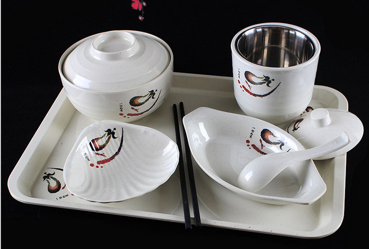 A5 Melamine Ceramic-like Tableware Eggplant-pattern Dot Fast-food Tableware Set Tray Plate Spoon Soup Pot Rice Pot