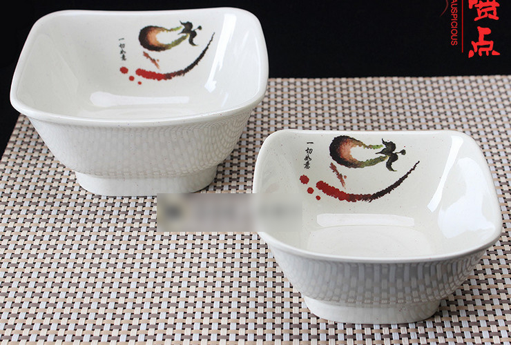 A5 Melamine Ceramic-like Tableware Eggplant-pattern Dot Fast-food Congee Bowl Square Bowl Small Rice Bowl