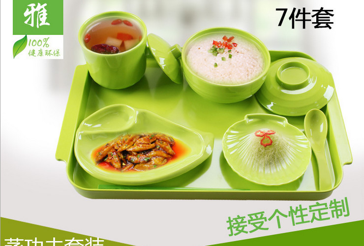High-class A5 Melamine Ceramic-like Green Color Fast-food Soup Bowl Food Plate Pad Plate Set