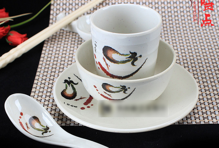 A5 Melamine Ceramic-like Tableware Eggplant-pattern Dot Bowl Plate Dish Set Hotpot 4-piece Set