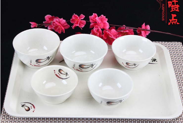 A5 Melamine Ceramic-like Tableware Eggplant-pattern Dot Rice Bowl Congee Bowl