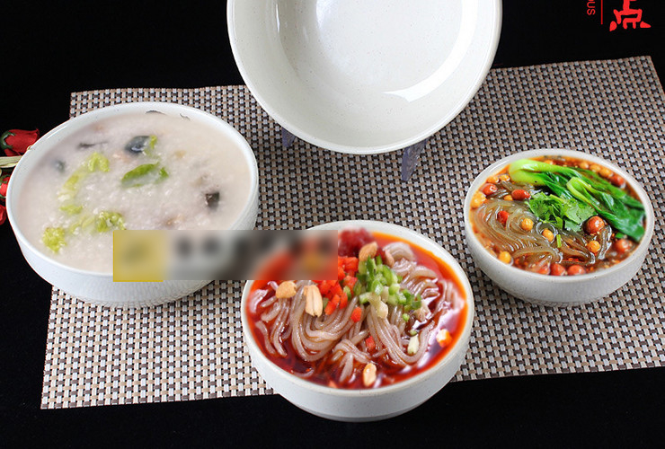 A5 Melamine Ceramic-like Tableware Eggplant-pattern Dot Ramen Bowl Soup Bowl Korea-style Bowl