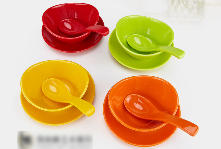 High-class A5 Melamine Ceramic-like Colorful Dessert Ingot-shaped Bowl Dish Spoon Set