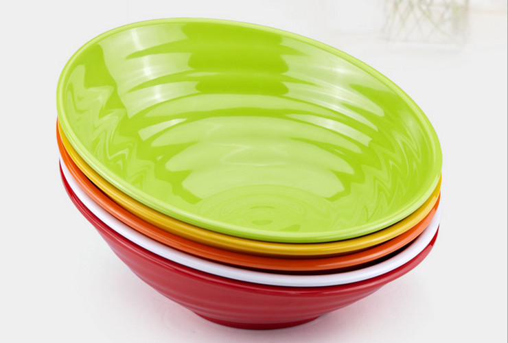 High-class A5 Melamine Ceramic-like Colorful Screw-pattern Tilted-mouth Bowl Big Bowl