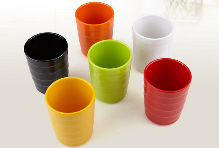 High-class A5 Melamine Ceramic-like Colorful Screw-pattern Straight-body Cup