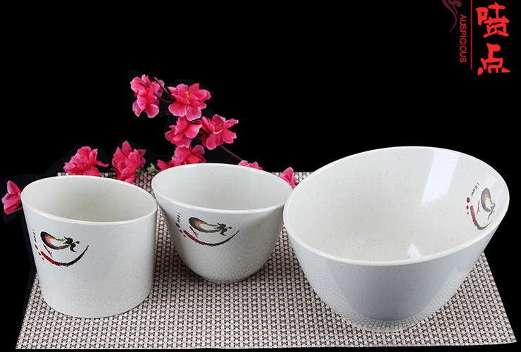 A5 Melamine Ceramic-like Tableware Eggplant-pattern Dot Oblique-mouth Bowl Vegetable Bucket