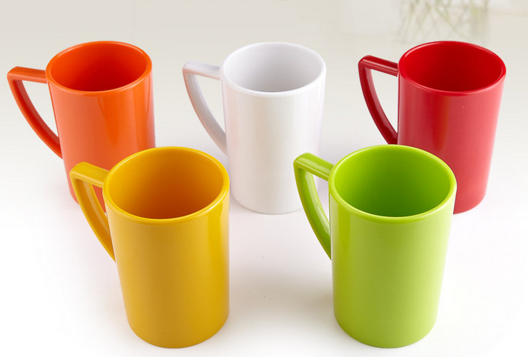 High-class A5 Melamine Ceramic-like Colorful Handled Cup 410ML