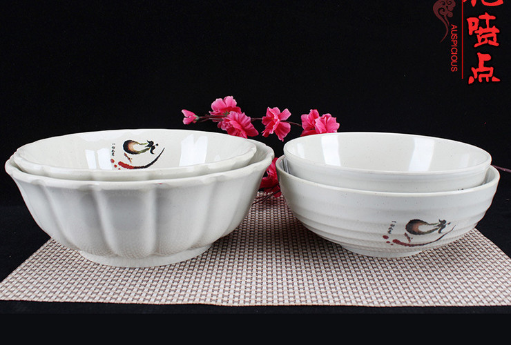 A5 Melamine Ceramic-like Tableware Eggplant-pattern Dot Ramen Bowl Soup Bowl
