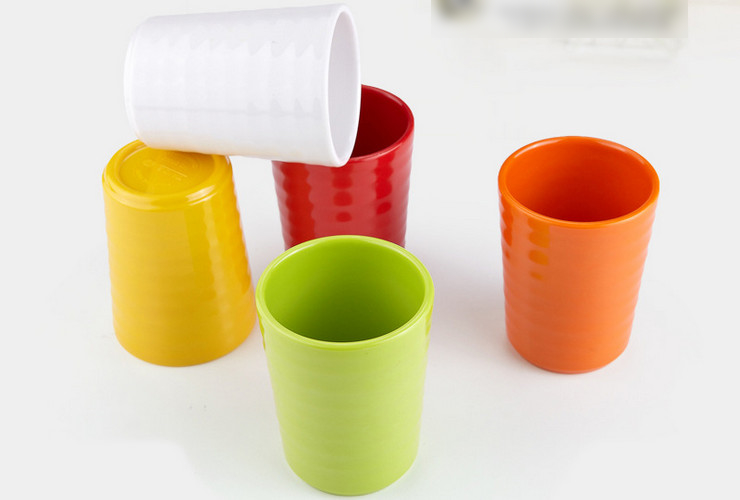 High-class A5 Melamine Ceramic-like Colorful Screw-pattern Straight-body Water Tea Cup 310ML
