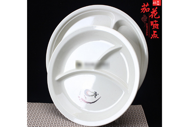 A5 Melamine Ceramic-like Tableware Eggplant-pattern 3-cell Fast-food Plate Creative Nuts DimSum Plate