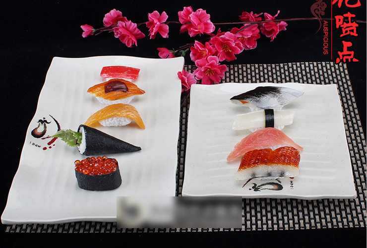 A5 Melamine Ceramic-like Tableware Eggplant-pattern Dot Line-pattern Rectangular Plate DimSum Plate Sushi Plate