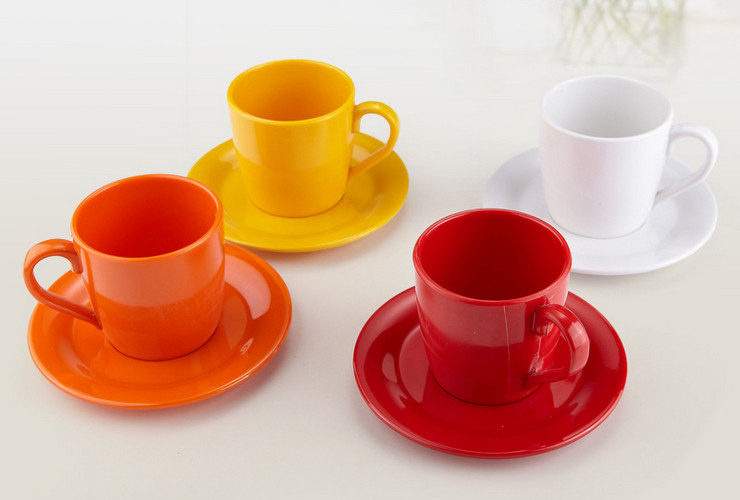 High-class A5 Melamine Ceramic-like Colorful Handled Milk Coffee Mug with Saucer 350ML