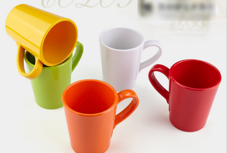 High-class A5 Melamine Ceramic-like Colorful Handled Tea Water Cup 370ML
