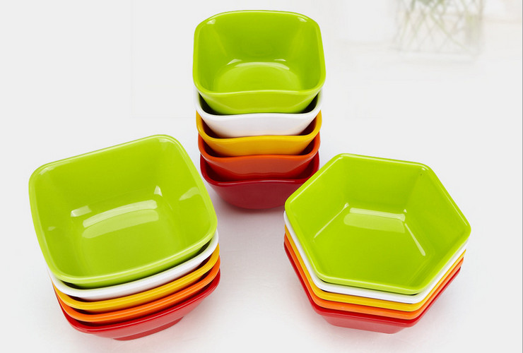 High-class A5 Melamine Ceramic-like Colorful Hexagon Square Round Bowl Sweet Soup Bowl