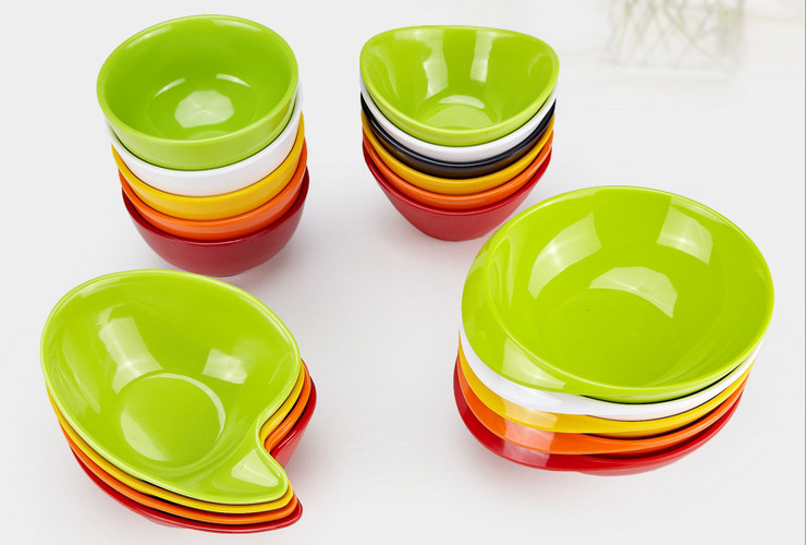 High-class A5 Melamine Ceramic-like Colorful Dessert Bowl Ingot-shaped Bowl Pudding Bowl Rice Bowl