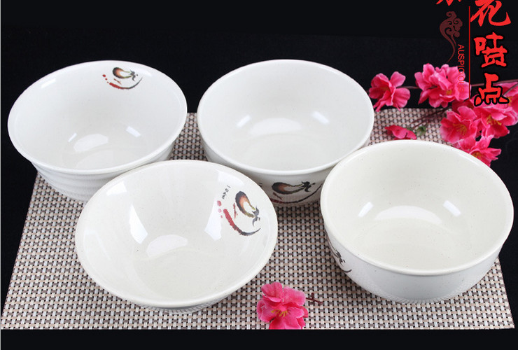 A5 Melamine Ceramic-like Tableware Eggplant-pattern Dot Noodle Bowl Wonton Bowl Rice Bowl