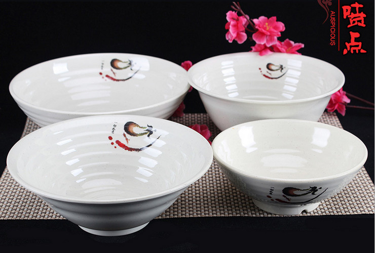 A5 Melamine Ceramic-like Tableware Eggplant-pattern Dot Ramen Bowl Inside-out Screw-pattern Bowl