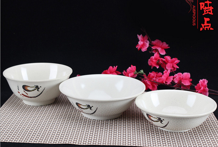 A5 Melamine Ceramic-like Tableware Eggplant-pattern Dot Noodle Bowl Dumplings Bowl Ramen Bowl