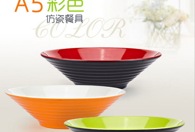 High-class A5 Melamine Ceramic-like Colorful Double-color Screw-pattern Soup Bowl