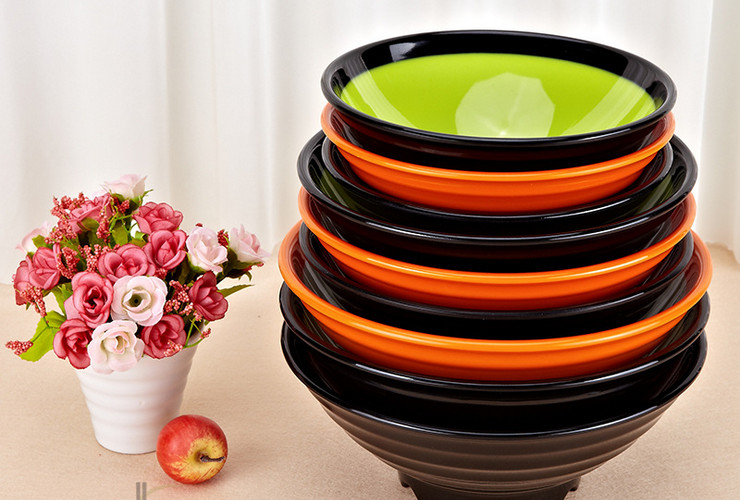 High-class A5 Melamine Ceramic-like Colorful Screw-pattern Side-colored Noodle Bowl