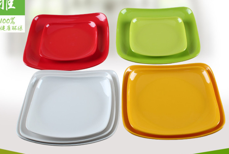 High-class A5 Melamine Ceramic-like Colorful Creative Corner-raised Food Plate