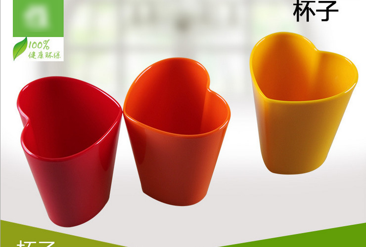 High-class A5 Melamine Ceramic-like Colorful Heart-shaped Water Tea Cup