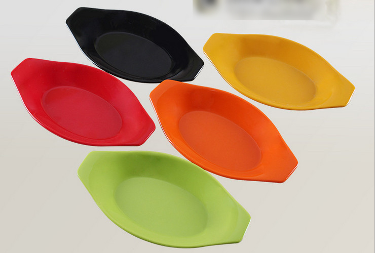 High-class A5 Melamine Ceramic-like Colorful Boat-shaped Plate Small Food Plate