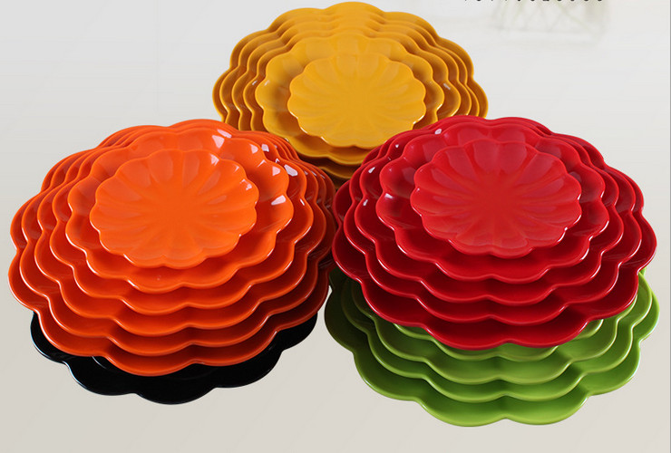 High-class A5 Melamine Ceramic-like Colorful Wave-sided Plate Small Food Plate
