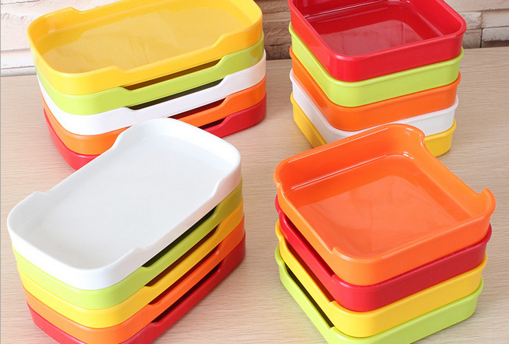 High-class A5 Melamine Ceramic-like Colorful Hotpot Food Plate Stackable Grilled Meat Plate