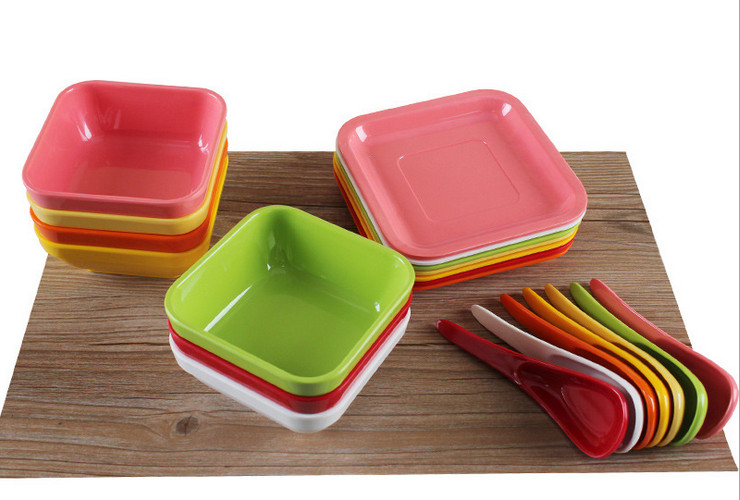 High-class A5 Melamine Ceramic-like Colorful Hongkong-style Sweet Soup Bowl Plate Spoon Set