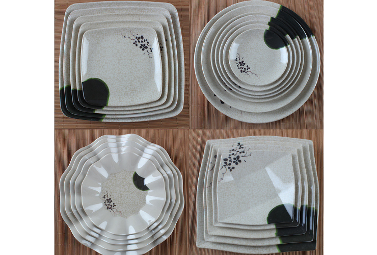Melamine Ceramic-like Lotus-pattern Round Plate Square Plate Wave-sided Plate 9-grid Plate