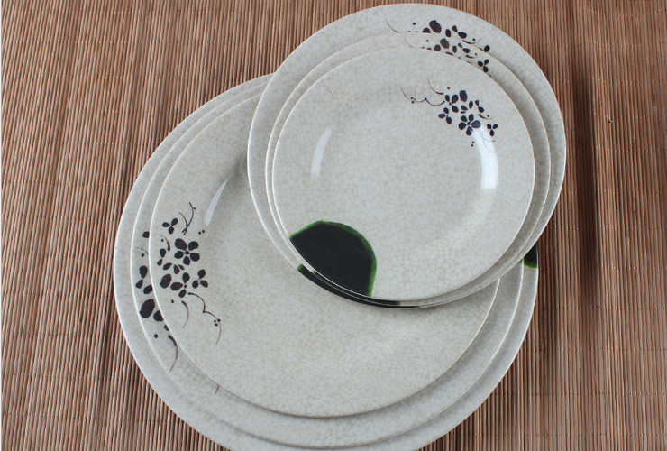 Melamine Ceramic-like Lotus-pattern Round Meal Plate Western Meal Plate