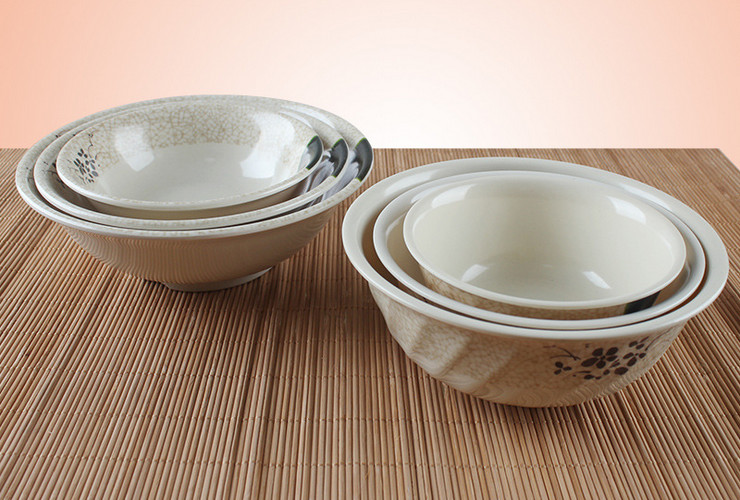 Melamine Ceramic-like Lotus-pattern Noodle Mouth-inverted Bowl Twill-line Soup Bowl