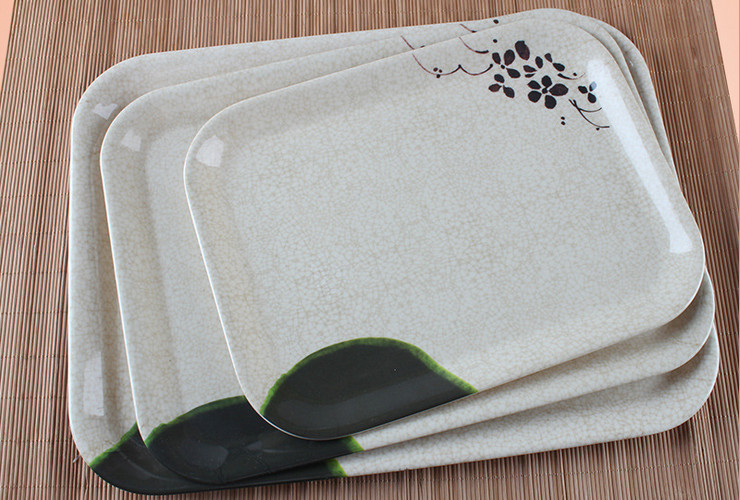 Melamine Ceramic-like Lotus-pattern Rectangular Tray Fruit Tea Tray