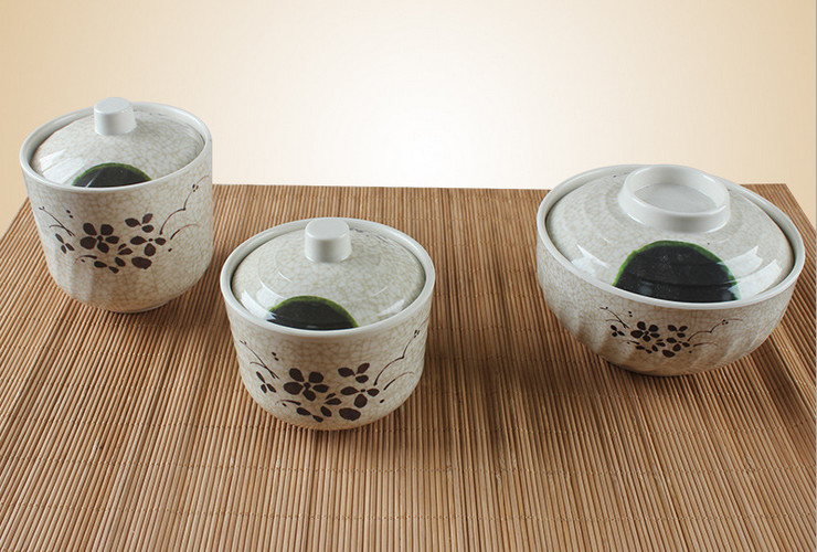 Melamine Ceramic-like Lotus-pattern With Lid Pot Stewing Bowl