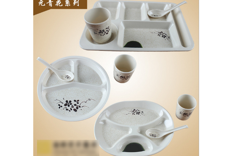Melamine Ceramic-like Lotus-pattern Fast-food Shop 3-piece Set Cup Spoon Tray